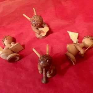 german Holiday - Rare wood angel holiday musicians in set of four
